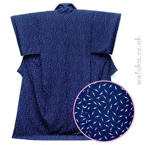Cute Umbrellas Blue Silk Kimono