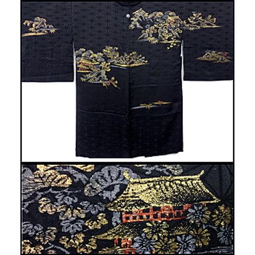 Black Scenery Weave Haori