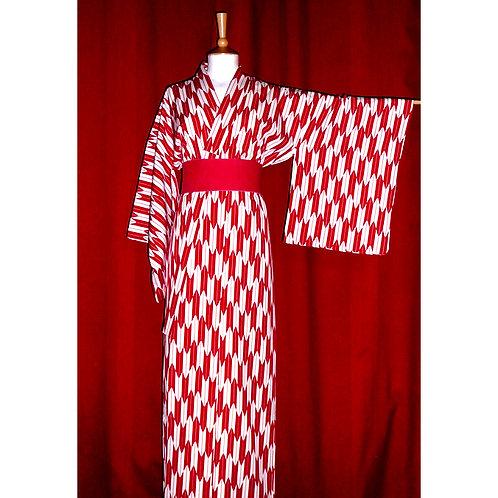 Red & White Yagasuri Kimono