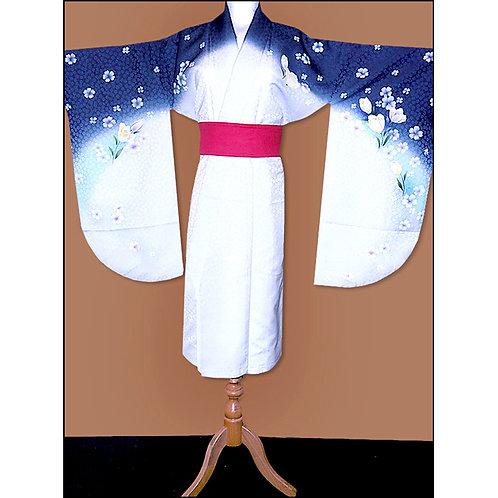 Blue & White Short Hakama Kimono - L112