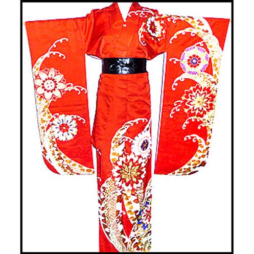 Beautiful Vermilion Furisode Kimono