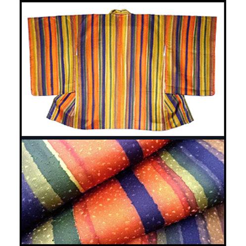 Autumnal Stripes Silk Haori