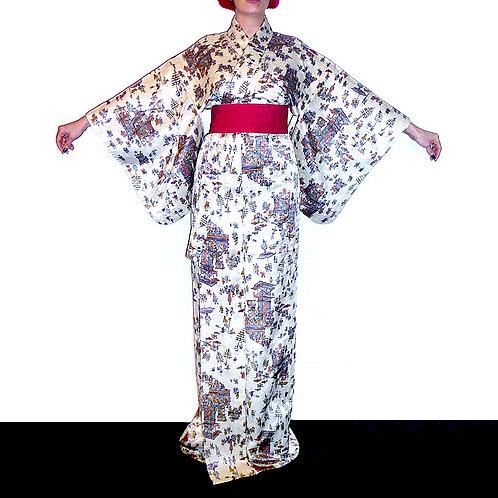 Gion Festival People, Cream Kimono