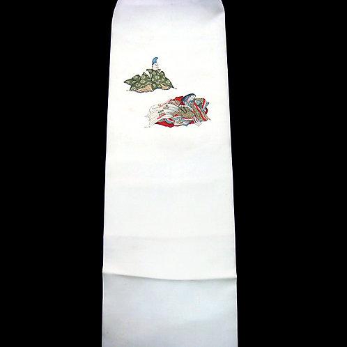 Nobles on White Silk Nagoya Obi