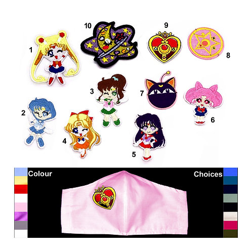 Sailor Moon Wired Face Mask - 10 Patches & 5 Mask Colours