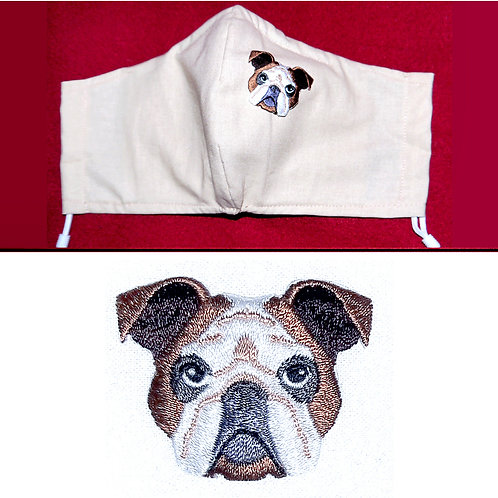 Embroidered Boxer Dog - Face Mask - 6 Colours - 2 Sizes