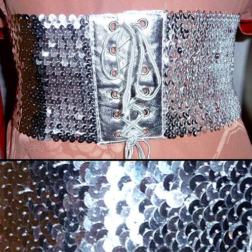 Sequin Stretch Belt - Silver