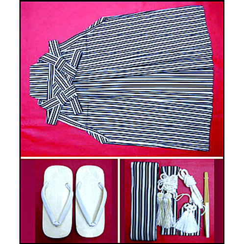 Grey Black Stripes Hakama Set
