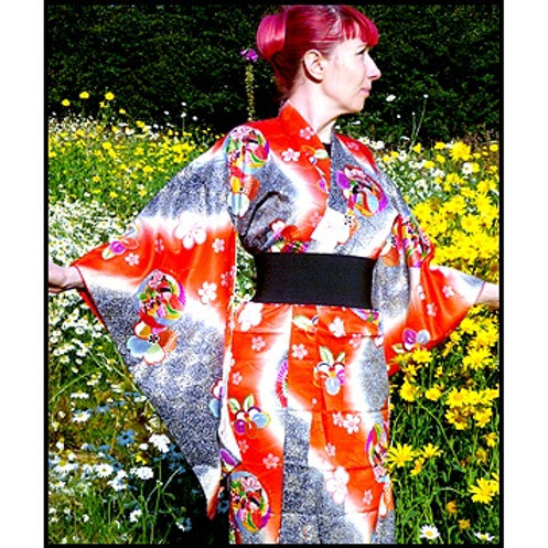Black & Orange Silk Kimono