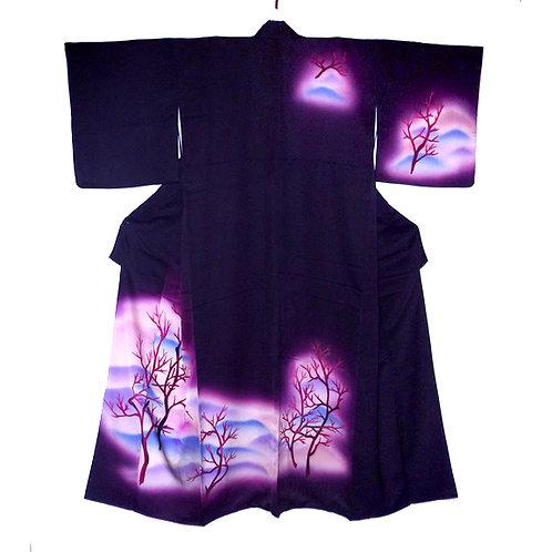 Bare Branches Purple Kimono