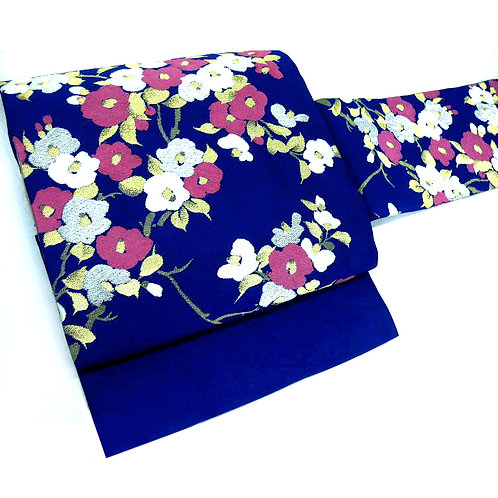 Camellias on Navy Nagoya Obi