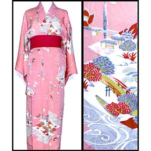 Pink 1930s Chaya-Tsuji Kimono
