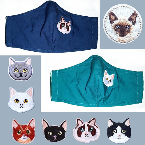 Embroidered Kitties Wired Face Mask - 7 Cats,15 Mask Colours