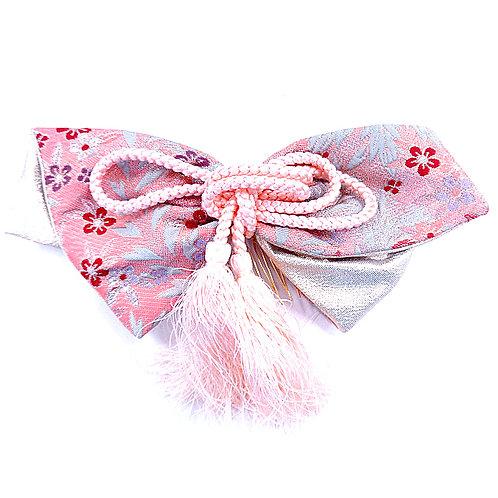A Pink & Grey Big Bow Comb