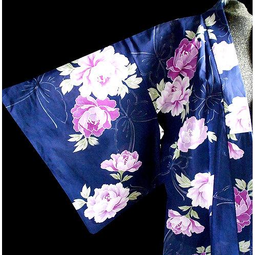 Blue With Peonies Yukata Kimono