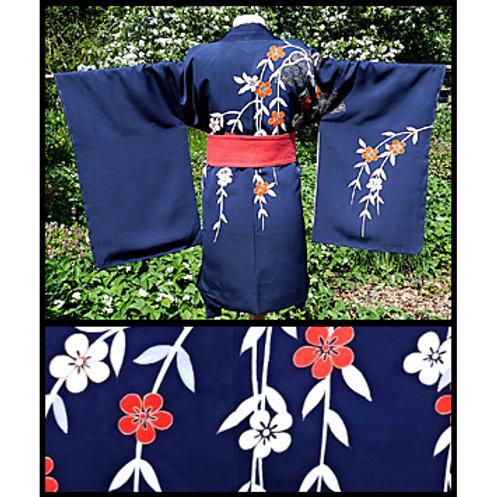 Navy Blue Haori - Plum Blossom