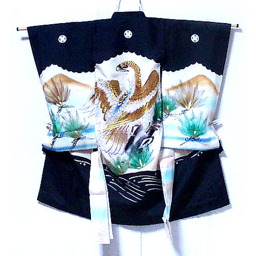 Embroidered Hawk Boy's Silk Kimono