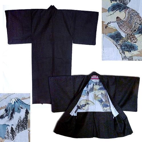 Brown Kimono & Haori Ensemble