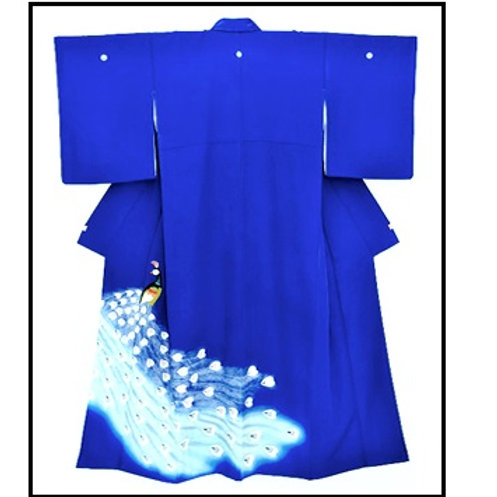 A Peacock Blue Chirimen Kimono