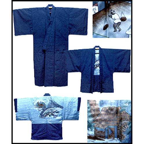 Blue Tsumugi Silk Ensemble