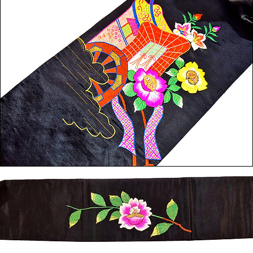 1920s Embroidered Carriage Obi
