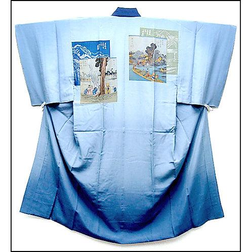 Blue Ukiyoe Silk Naga-Juban Kimono