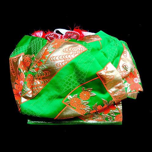 Green Brocade Fukurasuzume Obi