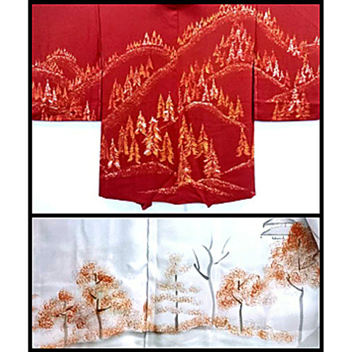 Tree Lined Mountains Silk Haori