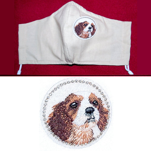 Embroidered Spaniel Dog - Face Mask - 6 Colours - 2 Sizes