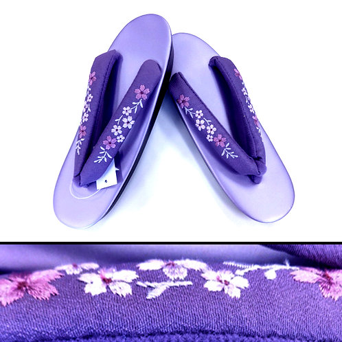 Embroidered Flowers Purple Zori