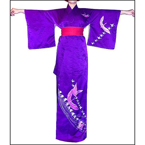 Cranes on Purple Kimono