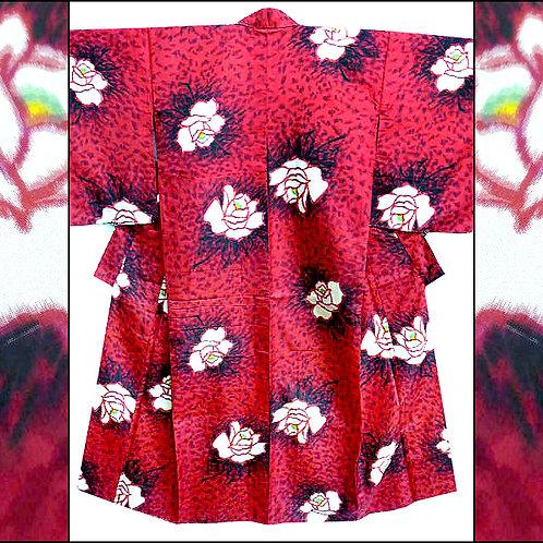 Bold Roses Meisen Kimono