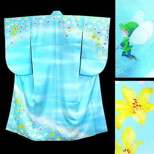 Fairy on Blue Ko Furisode Kimono