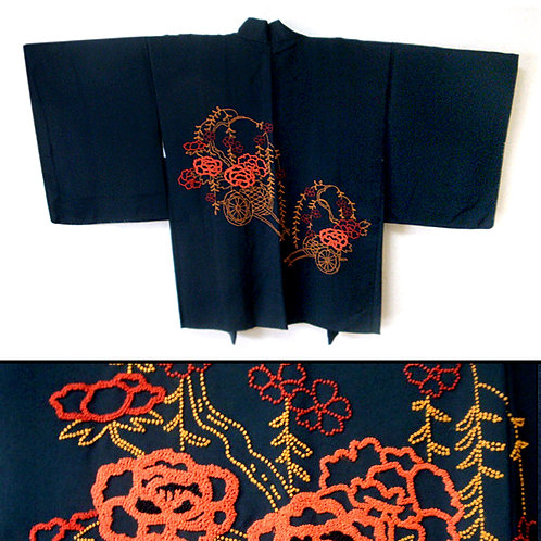 Embroidered Flower Carts Haori
