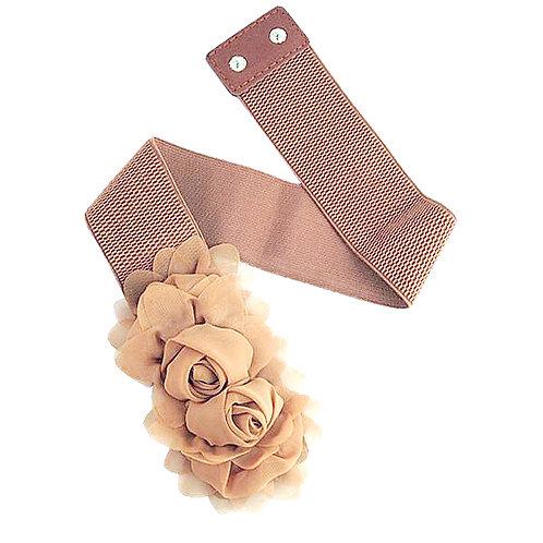 Chiffon Flowers Stretch Belt - Tan