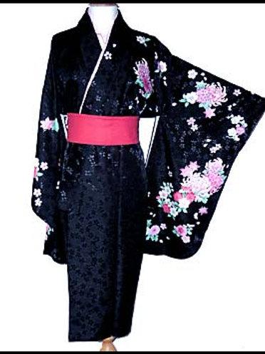 Black Floral Short Hakama Kimono - L111
