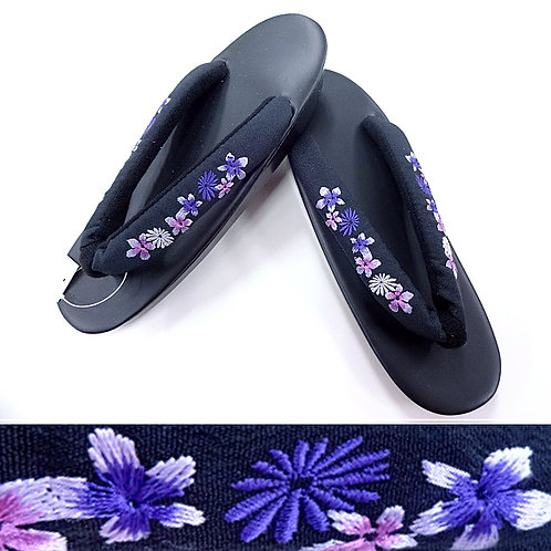 Purple Embroidery Black Zori