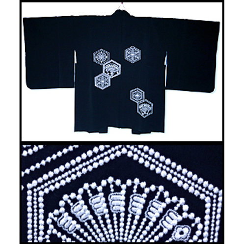 Embroidered Hexagons Silk Haori