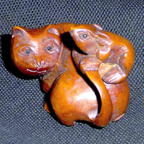 Cat & Rat Netsuke