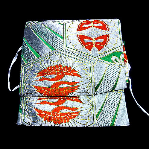 Cranes & Butterflies Silver Green Obi