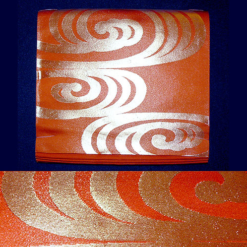Gold Swirls Orange Fukuro Obi