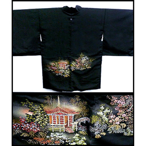 Beautiful Temple Scene Silk Haori