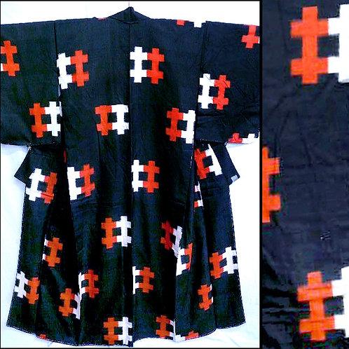 Black Tsumugi Silk Kimono