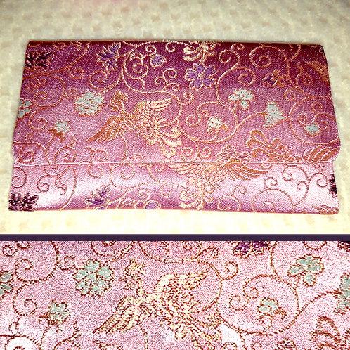 Pink Silk Brocade Japanese Wallet