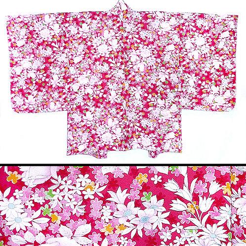 Flowers on Deep Pink Haori