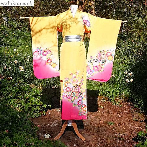 Gosho Guruma -  Yellow Silk Kimono