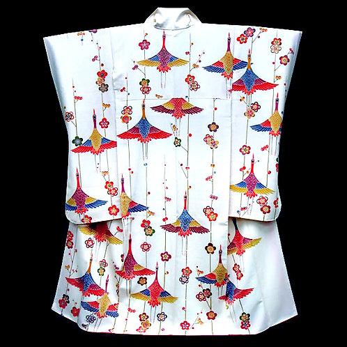 Bingata Cranes Silk Furisode