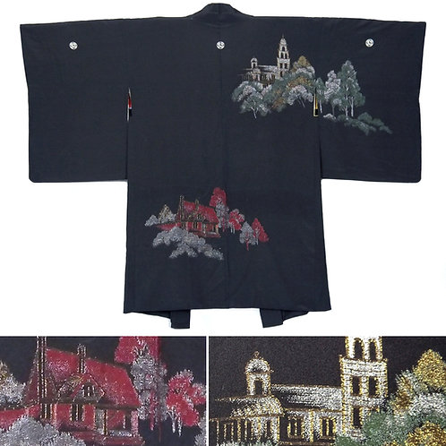 Exotic Western Buildings Silk Haori