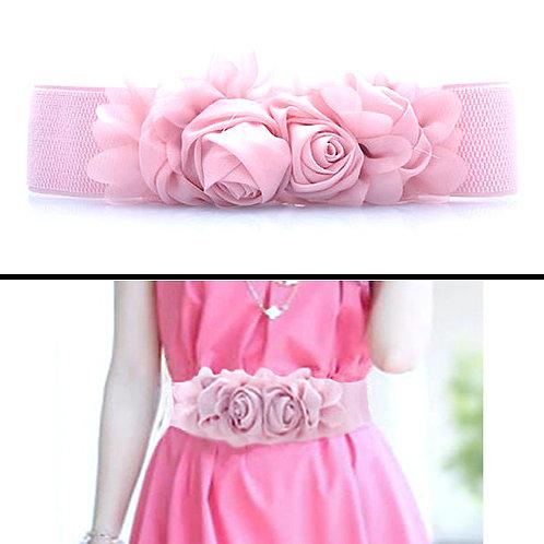 Chiffon Flowers Stretch Belt - Pink