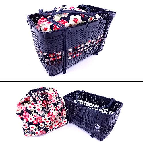 Takekago Kinchaku Bag - Blossom on Black